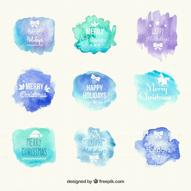 Watercolour christmas labels Free Vector