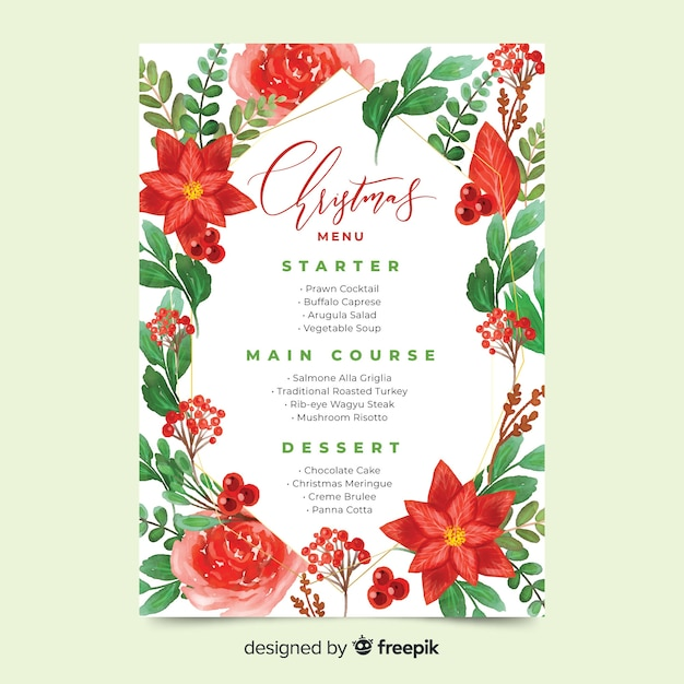 Watercolour christmas menu template and beautiful red flowers Free Vector