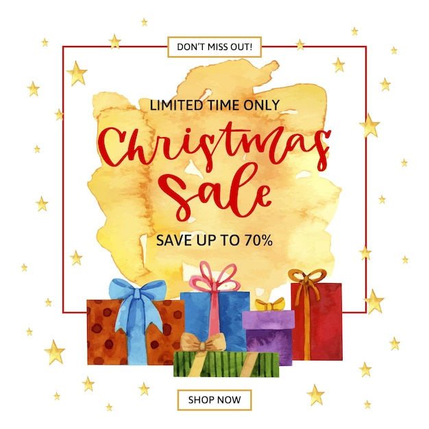 Watercolour christmas sale in frame with gifts Free Vector