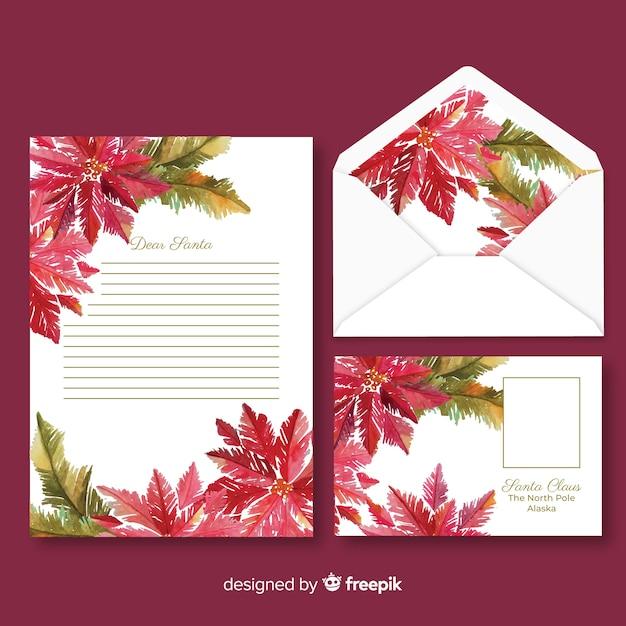 Акварель рождественские канцелярские шаблон с цветами Бесплатные векторы