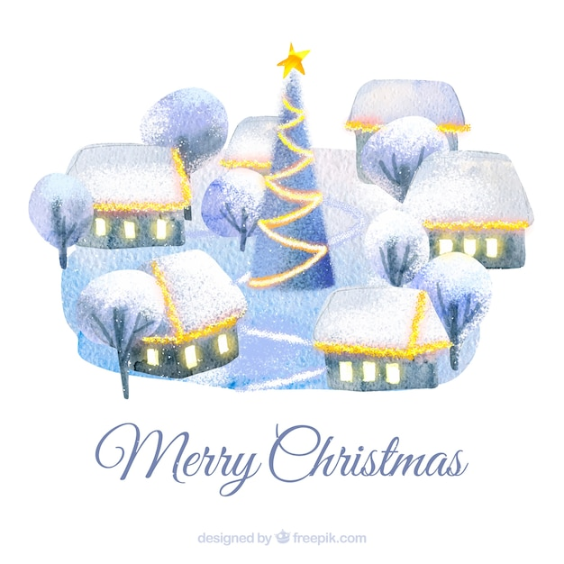 Watercolour christmas town background in blue tones