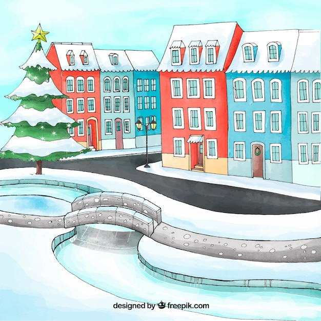 Watercolour christmas town with a frozen river