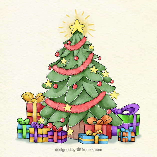 Watercolour christmas tree decorated with a\ star and baubles