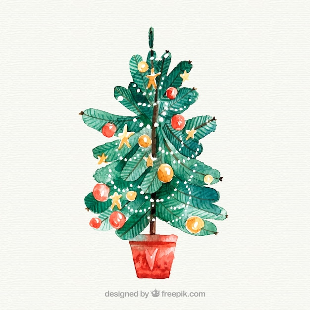 Watercolour christmas tree in a bucket