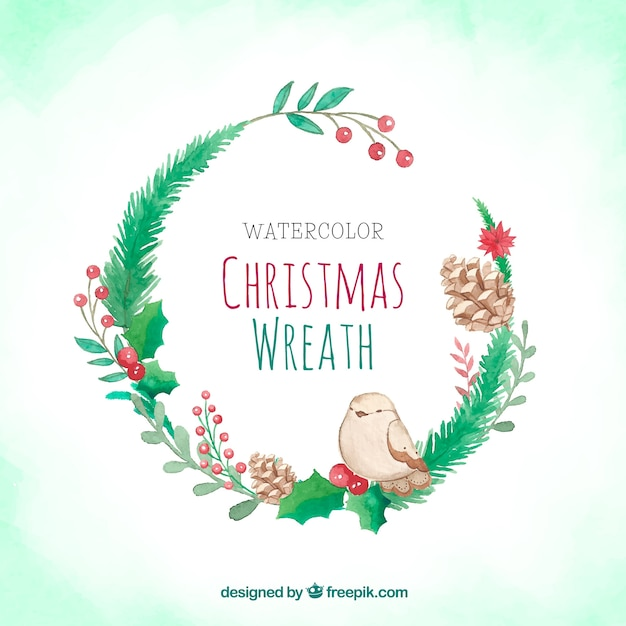 Watercolour Christmas Wreath With A Bird Vector Free Download