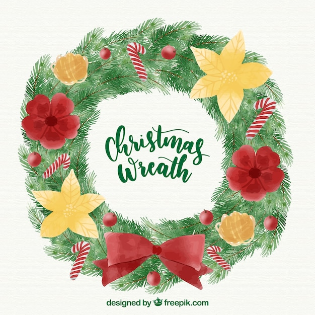Watercolour Christmas Wreath With Red And Yellow Flowers Stock
