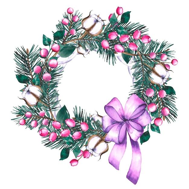 Акварельный рождественский венок с фиолетовой лентой Бесплатные векторы