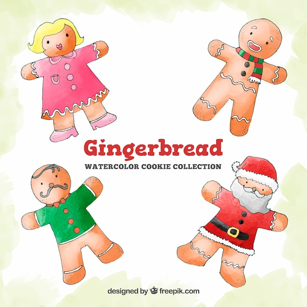 Watercolour collection of gingerbread characters