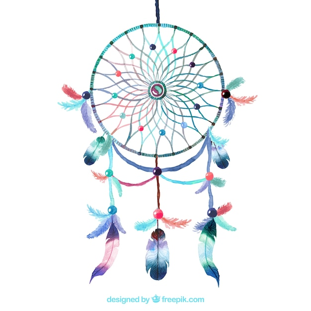 Watercolour dreamcatcher Free Vector