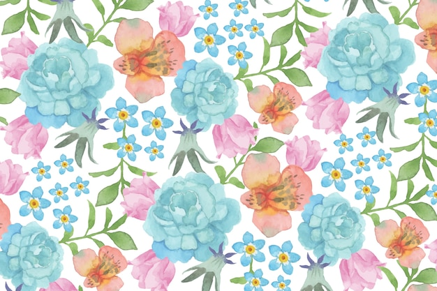 Watercolour floral background with blue roses Free Vector