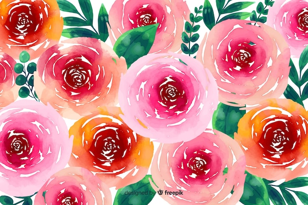 Watercolour floral background with roses Free Vector