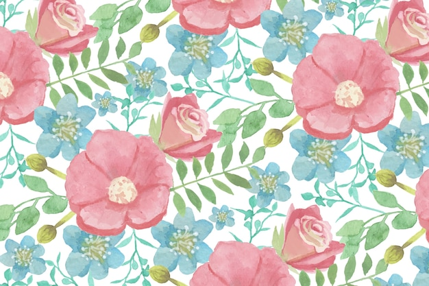Watercolour floral background with soft colours Free Vector