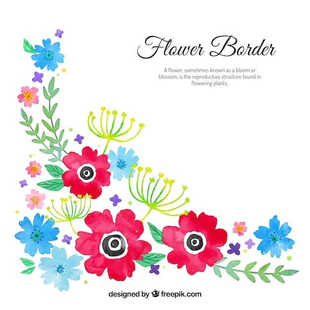 Watercolour Floral Corner Free Vector
