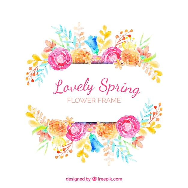 Watercolour floral frame lovely spring Free Vector