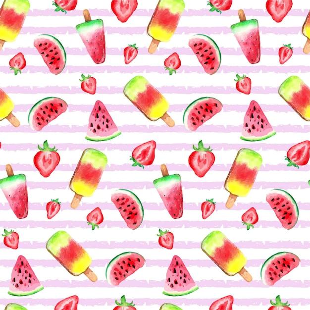 Watercolour fruits ice cream pattern Premium Vector