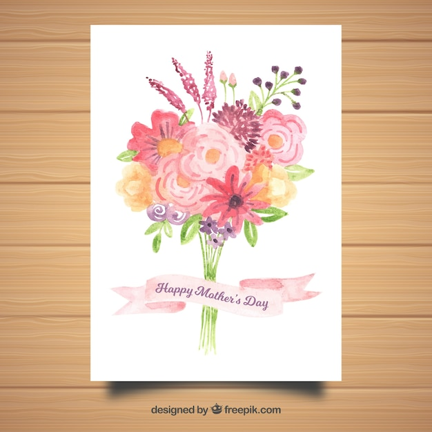 Watercolour greeting card happy mothers day vector free download watercolour greeting card happy mothers day free vector m4hsunfo