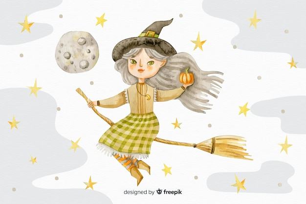 Watercolour halloween background with witch on broom Free Vector
