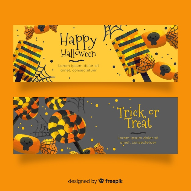 Watercolour halloween banners in golden shades Free Vector