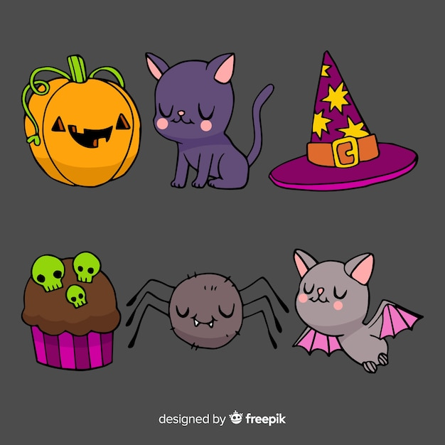 Watercolour halloween cute element collection Free Vector