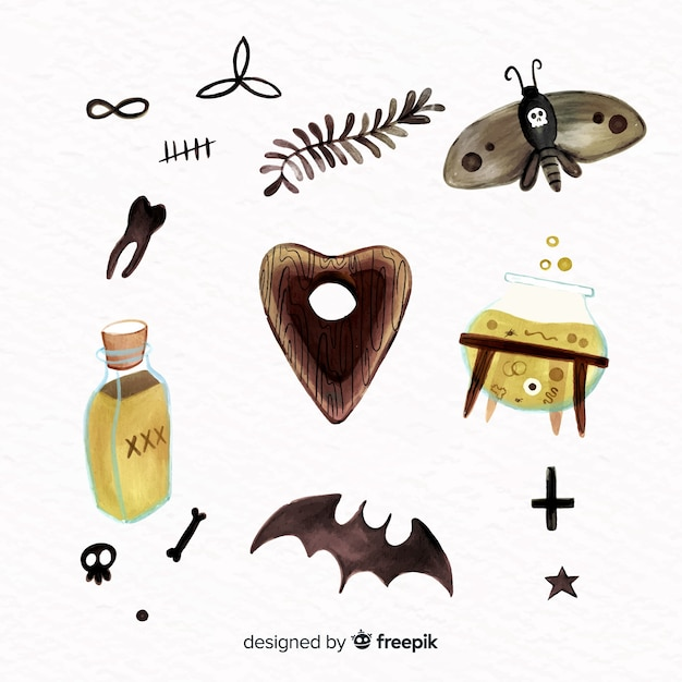 Watercolour halloween element collection Free Vector