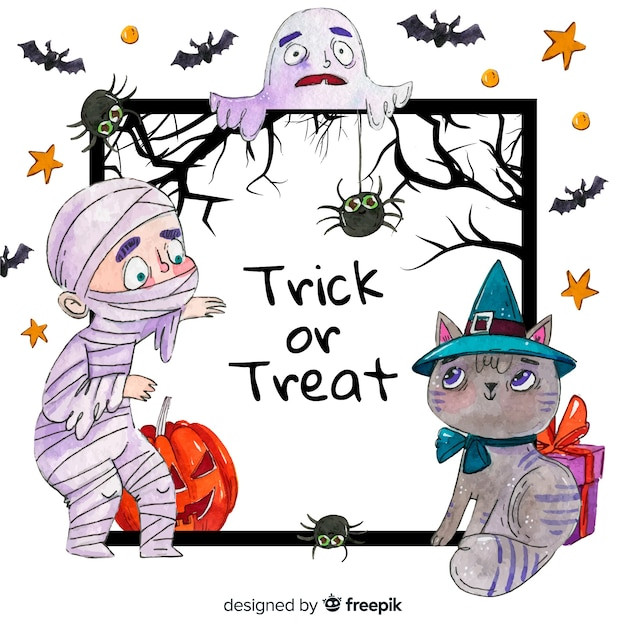 Watercolour halloween frame mummy and cat Free Vector