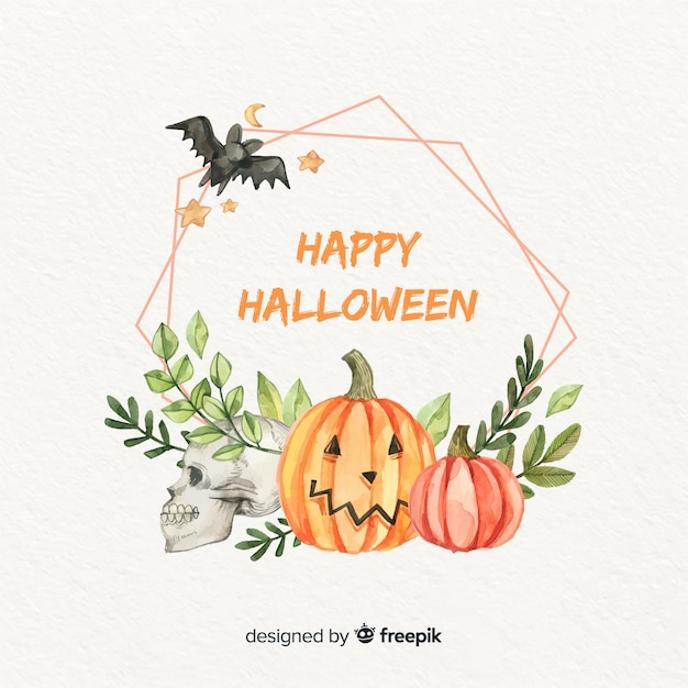 Watercolour halloween frame with bat and leaves Free Vector