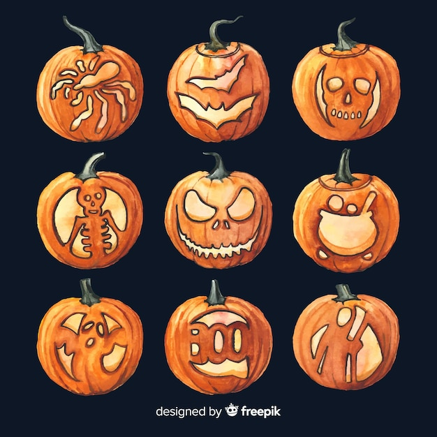 Watercolour halloween professional drawings on pumpkins   Free Vector
