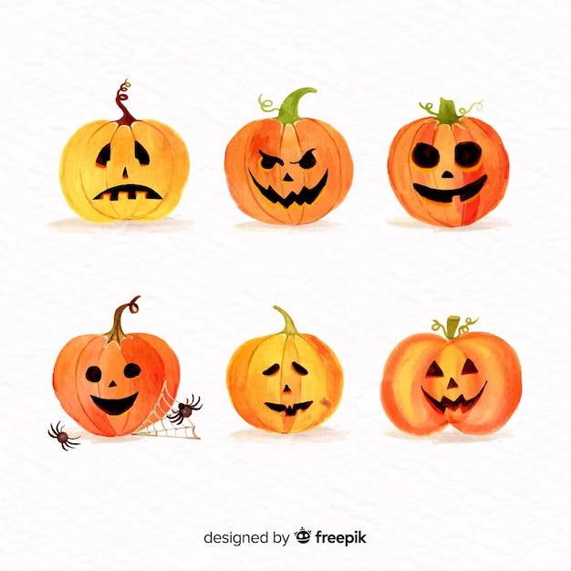 Watercolour halloween pumpkin collection Free Vector
