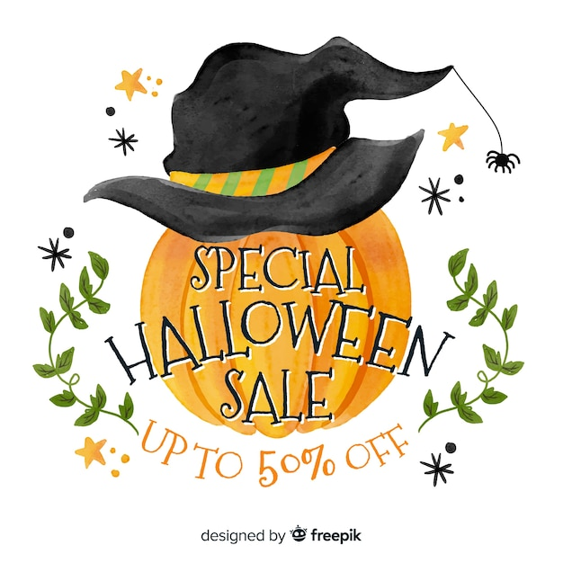 Watercolour halloween sale with pumpkin Free Vector