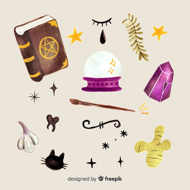 Watercolour halloween witch element collection Free Vector