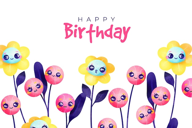 Free Vector Watercolour Happy Birthday Background And Flowers With Faces