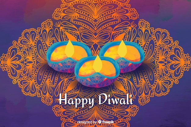 Watercolour happy diwali background Free Vector