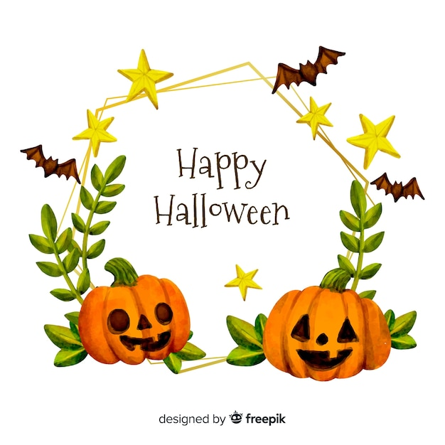 Watercolour happy halloween frame with pumpkins Premium Vector