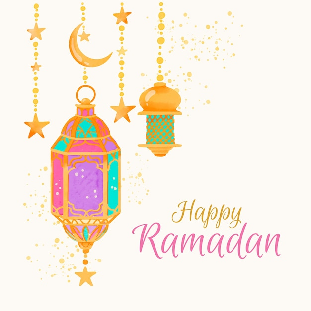 Watercolour happy ramadan and lamps Free Vector
