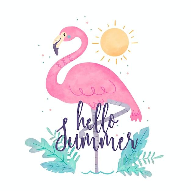 水彩こんにちは夏とフラミンゴ Premiumベクター