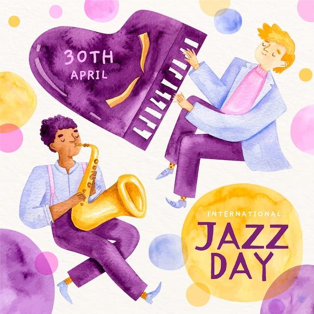 Международный день джаза с акварелью и играющие люди Бесплатные векторы
