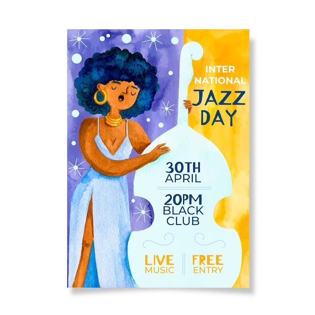 Акварельный международный день джаза и женщина на виолончели Бесплатные векторы