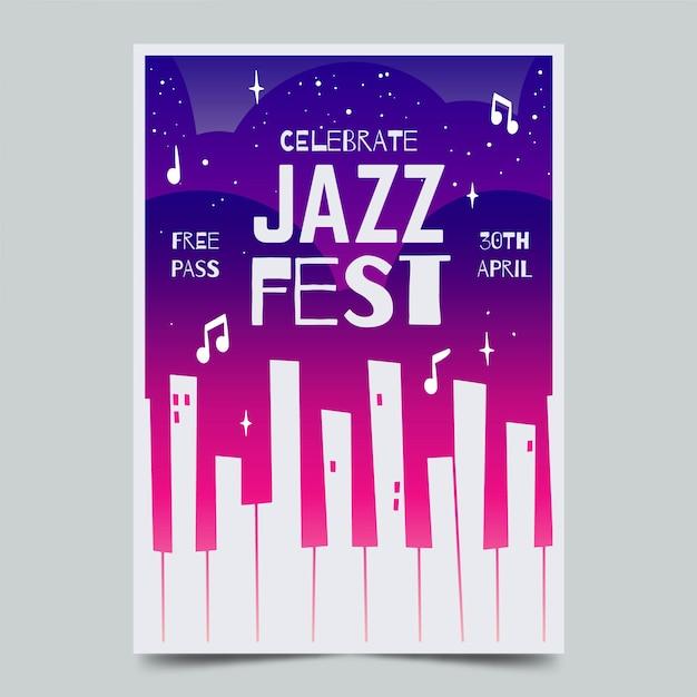 Акварель международный день джаза флаер шаблон Бесплатные векторы
