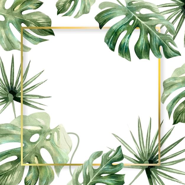Watercolour leaves square frame copy space Premium Vector