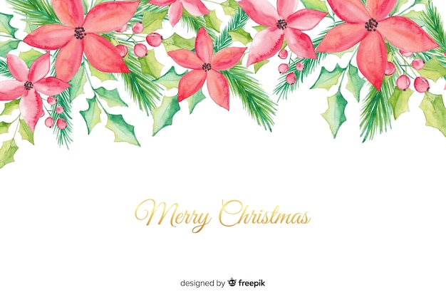 Watercolour merry christmas background Free Vector