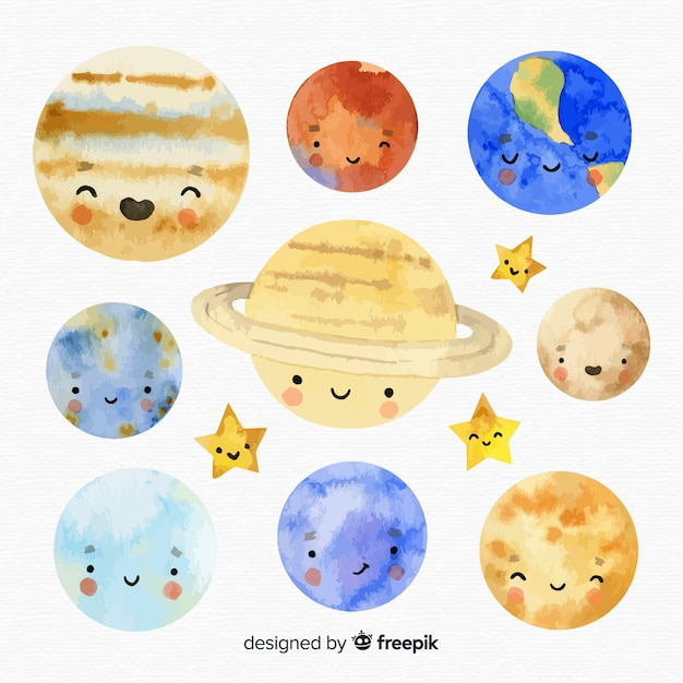 Watercolour milky way planet collection Free Vector