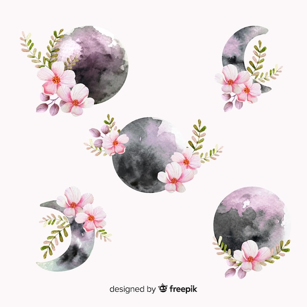 Watercolour moon collection in violet shades Free Vector