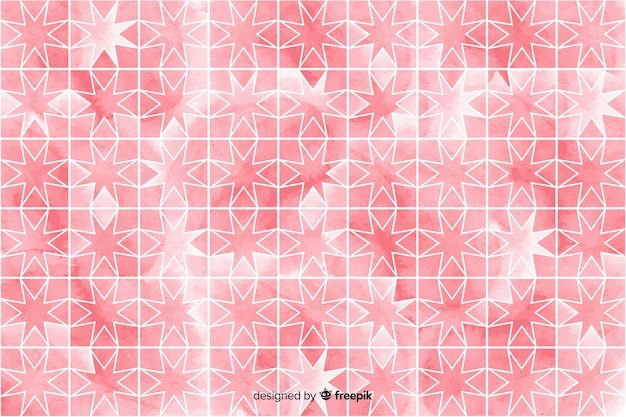 Watercolour mosaic background in pink shades Free Vector