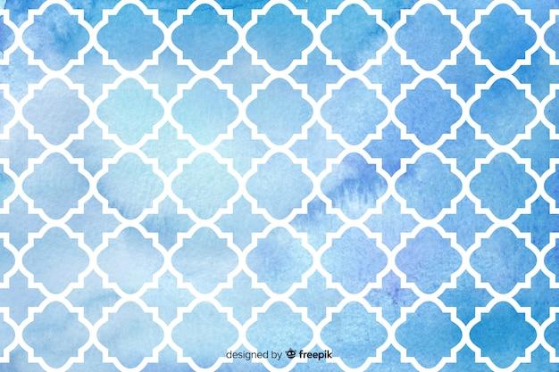 Watercolour mosaic blue tiles background Free Vector