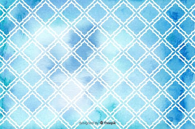 Watercolour mosaic diamond tile background Free Vector