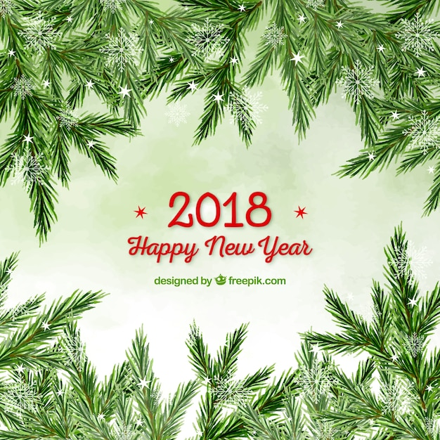 watercolour new year background with a frame out of christmas tree branches free vector