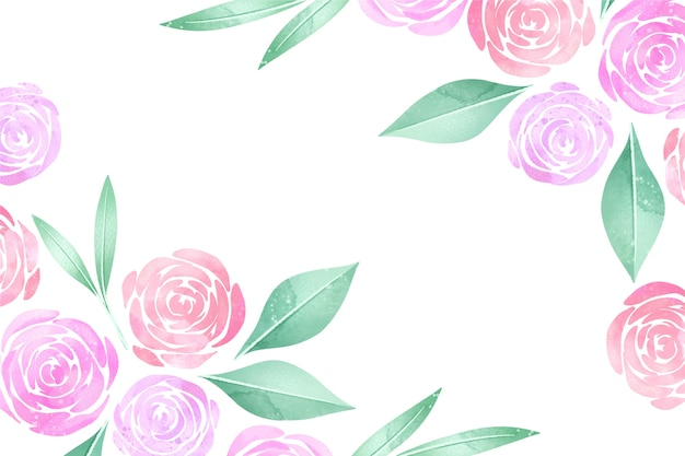 Watercolour pastel-coloured roses floral background Free Vector