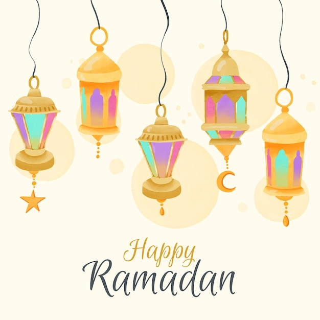Watercolour ramadan with hanging lamps Free Vector