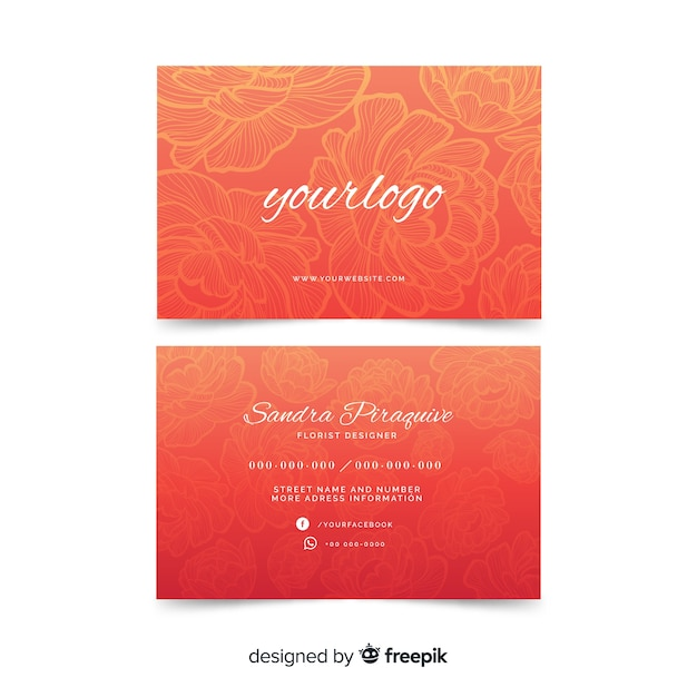 Watercolour red floral business card template Free Vector