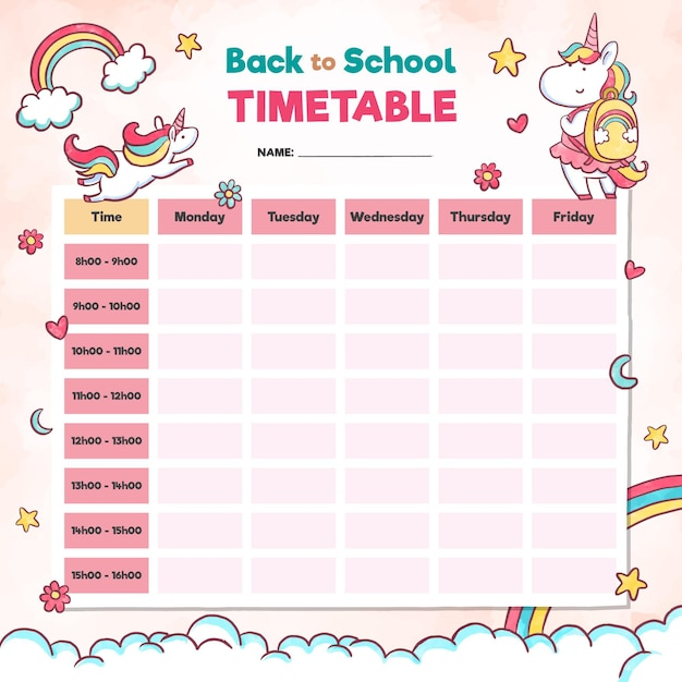 Watercolour school timetable in pink elements Free Vector